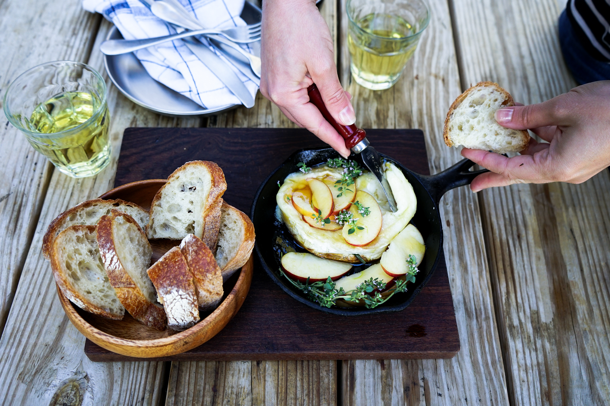 Camp Fire Baked Brie with Chardonnay
