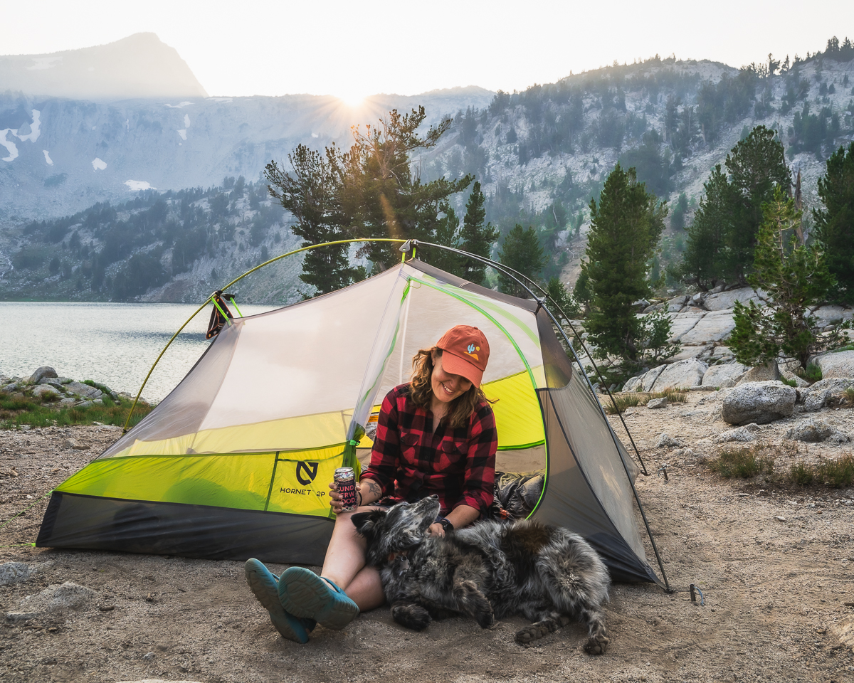 Brooke Weeber Backpacking Trip Tent by Lake