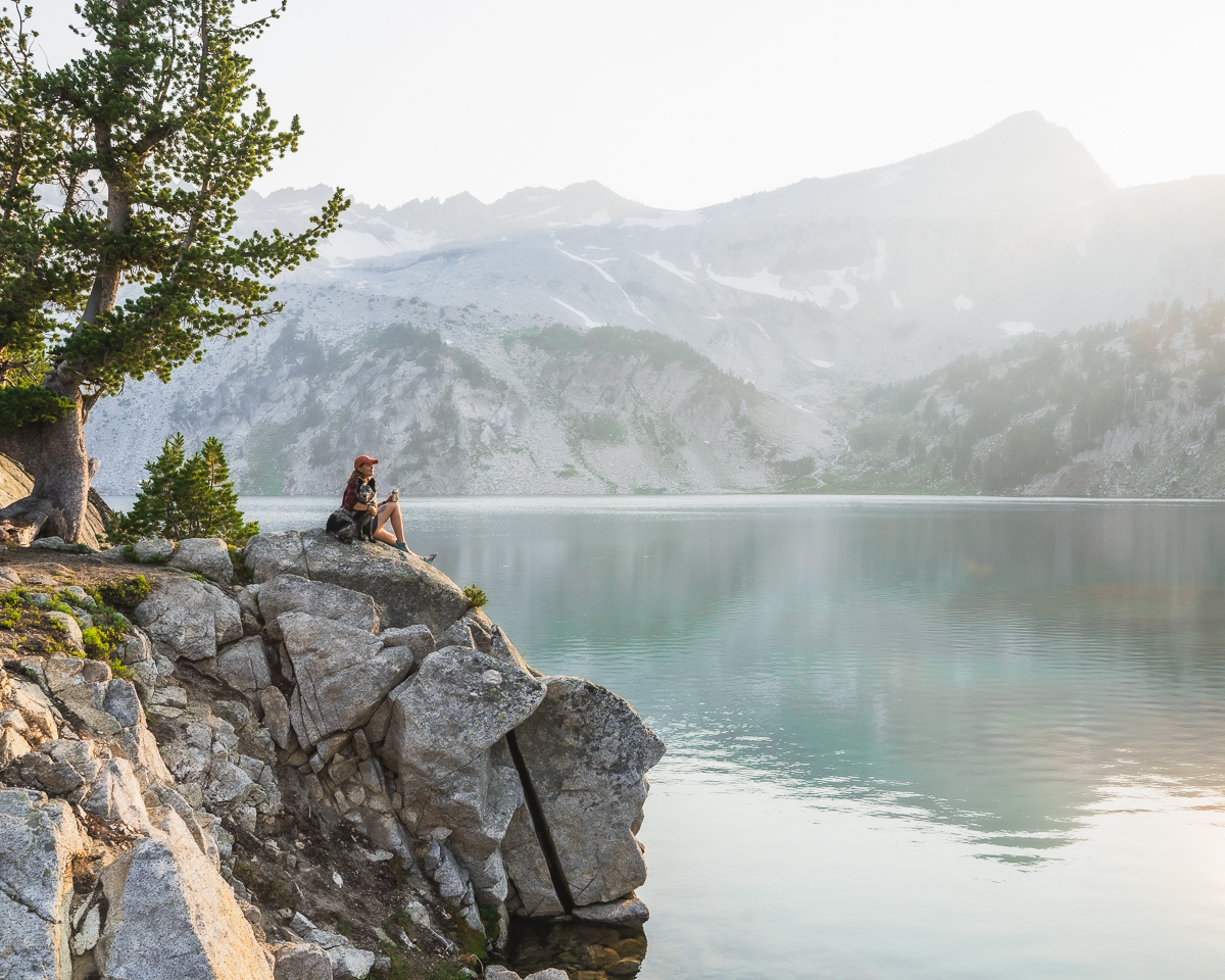Backpacking trip by a lake